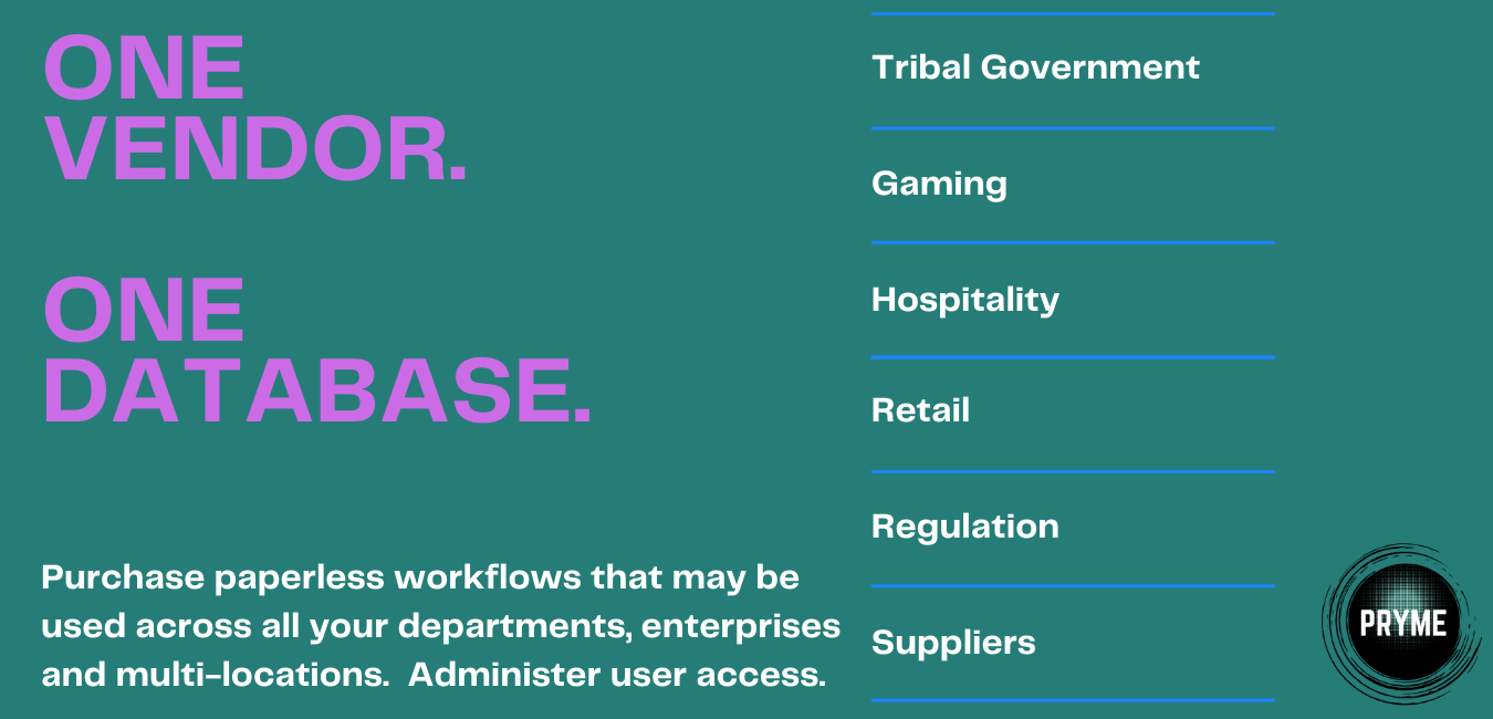 one vendor, one database, tribal government, gaming, hospitality, retail, regulation, suppliers